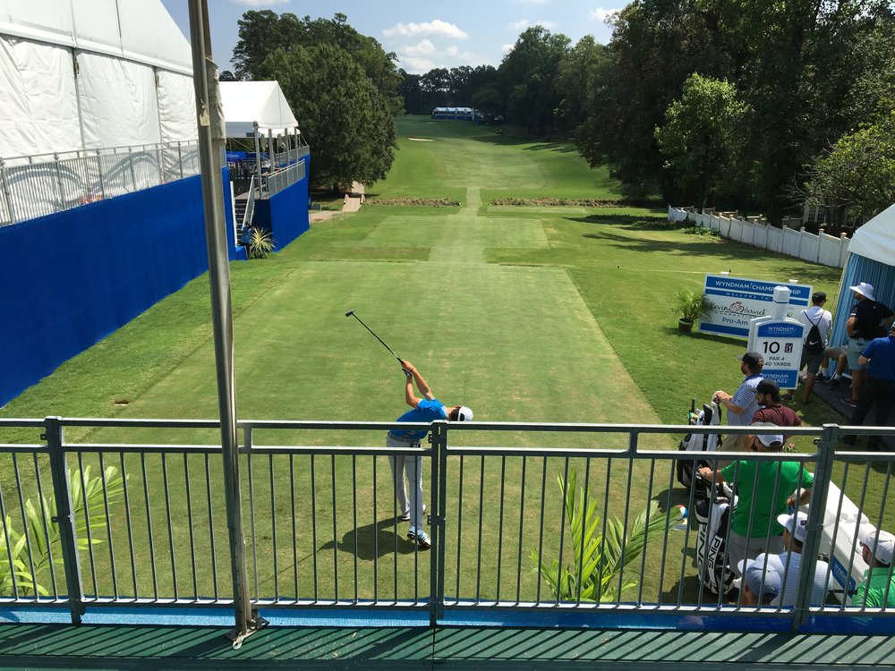 Joaquín Niemann teeing off during the practice round on Tuesday.