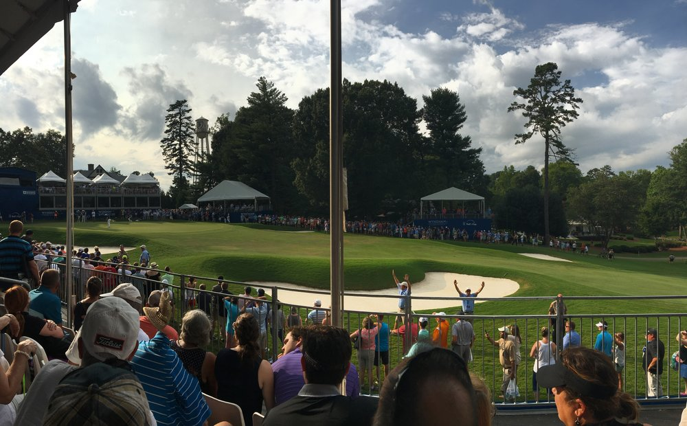 Pano shot of the 18th green area during the final round on Sunday.