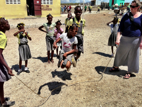 Playing with kids at the Touch of Hope school.