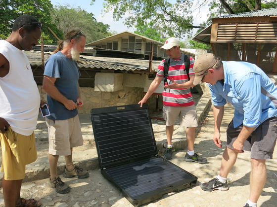 Part of our team was from Peppermint Energy.  While there, they introduced a portable solar unit in the Haitian village where we stayed. It was quite evident that this form of power could do big things there.