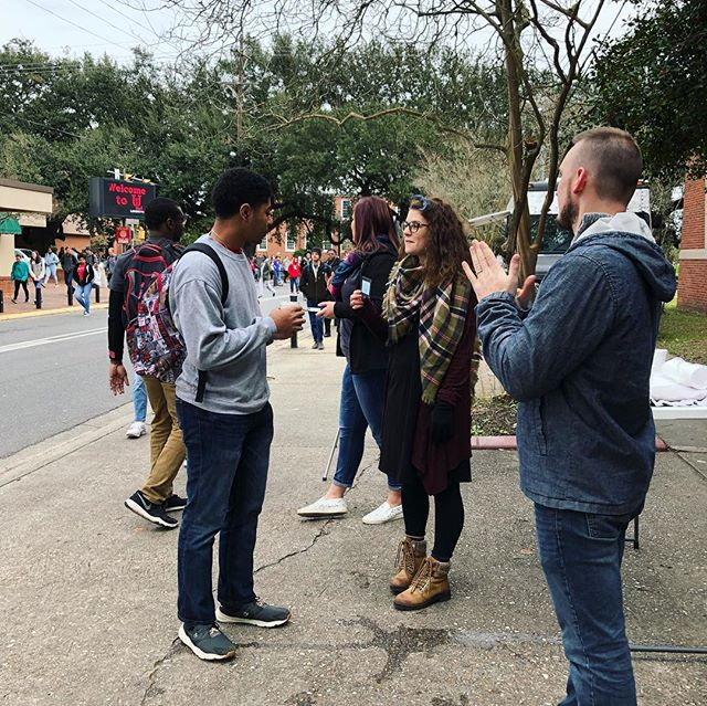 The interns are on Rex street promoting Free Meal with a Message and connecting with new students! Free hot chocolate! See y'all at 12!  #lachialpha #ulgetinvolved