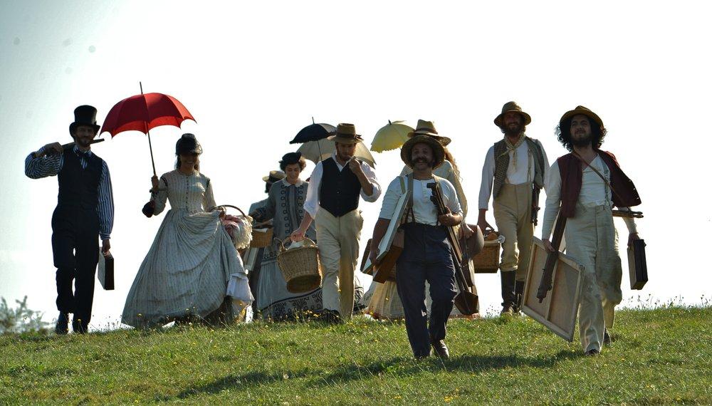 Kunstnerne og deres kvinner på picnic for å leve livet og male ute i det fri. Paul Cézanne lengst til høyre.