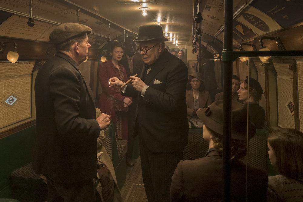Winston Churchills møte med et knippe briter på tuben i London.
