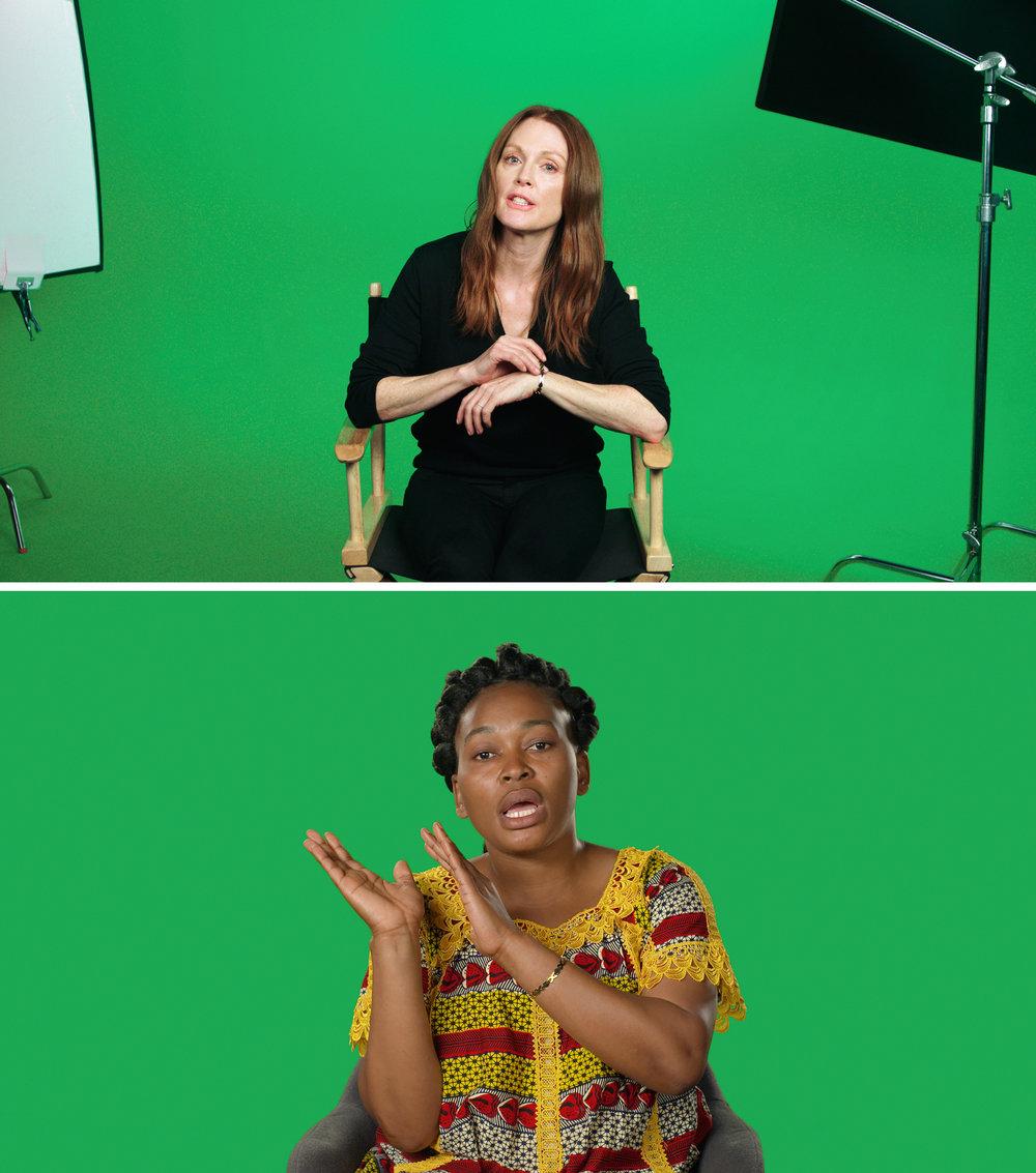 Skuespiller Julianne Moore forteller blant annet historien til Mamy Maloba Langa, flyktning fra Kongo til Sør-Afrika.