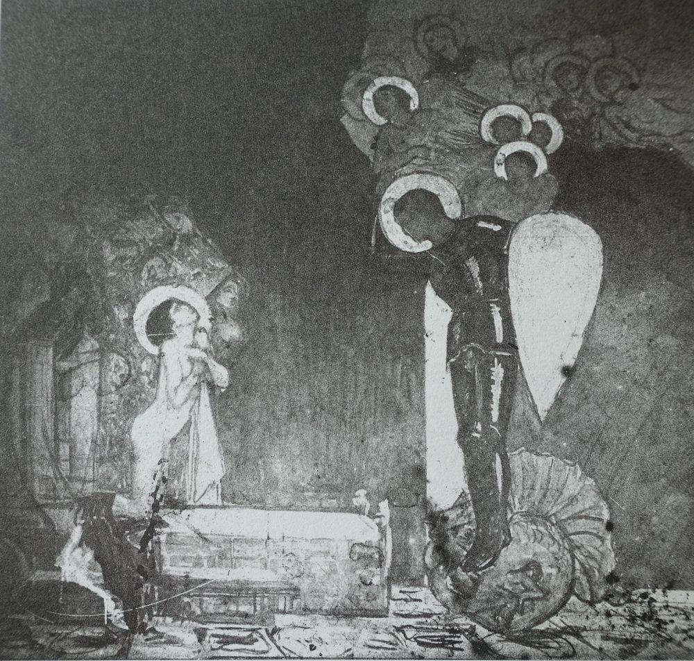 ETTERLYSES:  Detalj fra Olaf Langes 6 meter tredelte bilde «De 11.000 jomfruer» (1916-18).