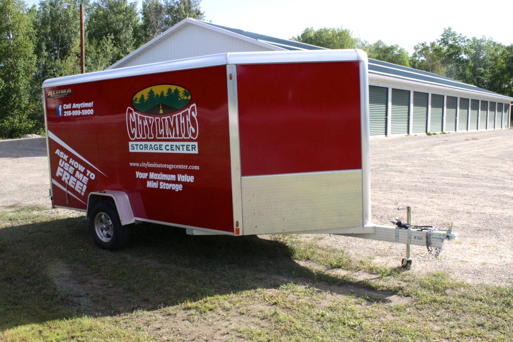 Enclosed trailer on Highway 38