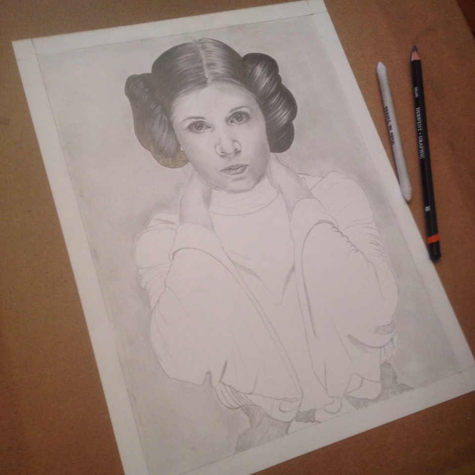 Adding some shadows and midtones starts bringing her to life.  She is starting to look like Leia.
