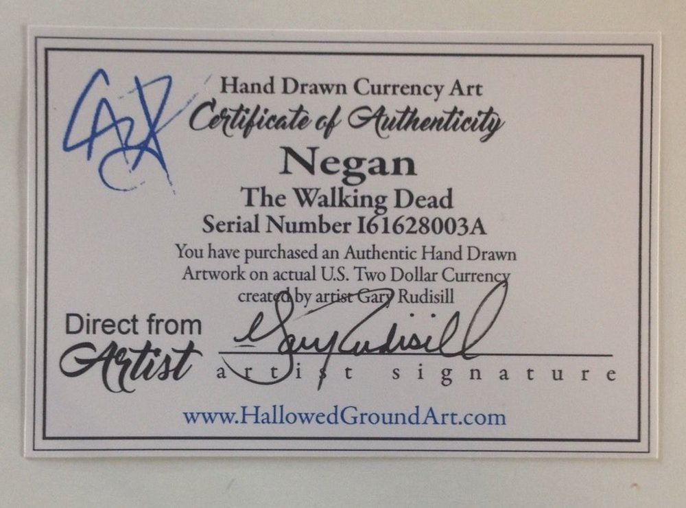Negan Currency Art Certificate of Authenticity