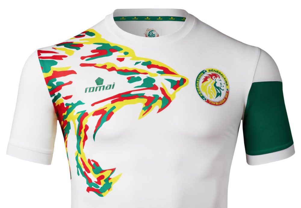 2017 SENEGAL NATIONAL FOOTBALL TEAM HOME KIT BY ROMAI SPORTSWEAR FOR 2017 AFRICA CUP OF NATIONS, DESIGNED BY IRVING PEREZ