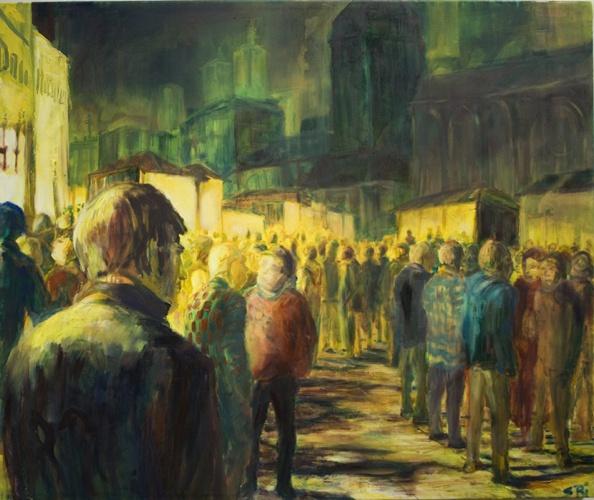 Nächtliche Versammlung, Öl auf Leinwand, 2010, 100x80