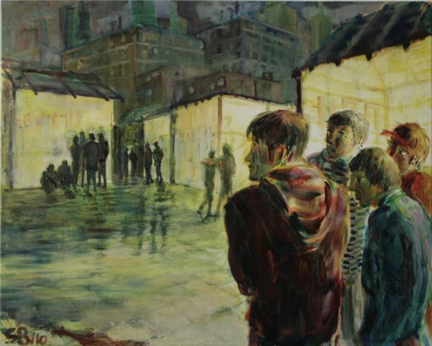 Nächtliche Versammlung 2, Öl auf Leinwand, 2010, 100x80