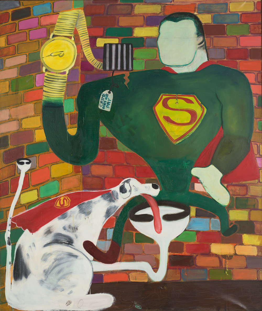 Superman and Superdog in Jail, 1963, Öl auf Leinwand