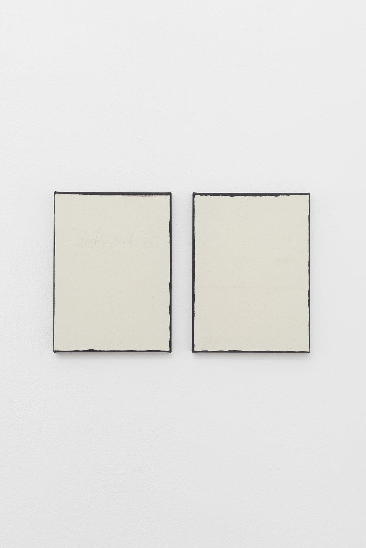 Laura Sachs, Edges I & Edges II, 42 x 30 cm, Oil and Dust on Canvas, 2018