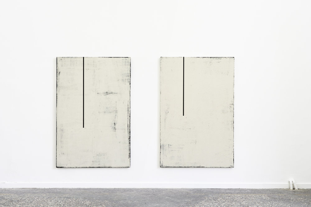 Laura Sachs, Noon I (Black Painting) & Noon III (Black Painting), Oil, Dust and Metal on Canvas, 2018
