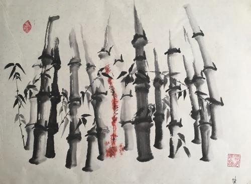 Tusche, Chinesisches Papier, 83 x 64 cm