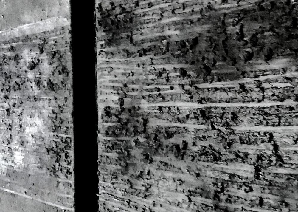 Diptychon,Detail, Pigmente auf Leinwand