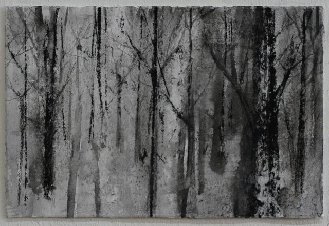 Bäume, 2015 Mischtechnik mit Kohle auf Papier 10 x 15 cm