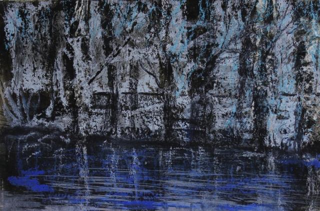 Bäume, 2017 Ölpastell und Tinte auf Papier 10 x 15 cm