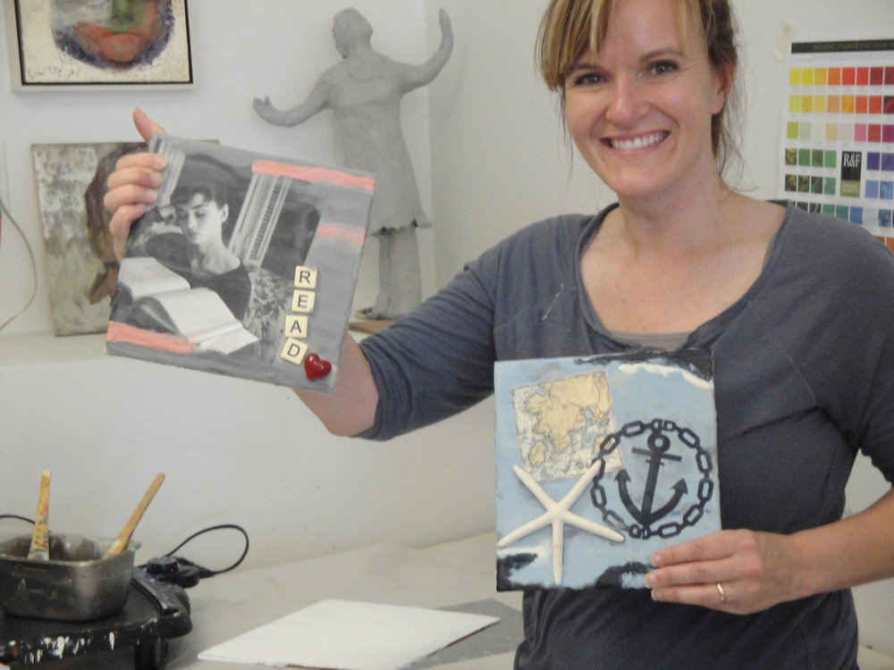 A happy new encaustic artist having completed a workshop.