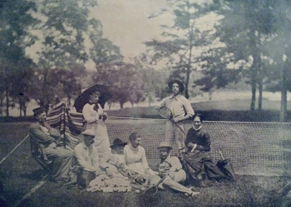 Professor Eben Horsford, daughter, and friends on the tennis court circa 1870