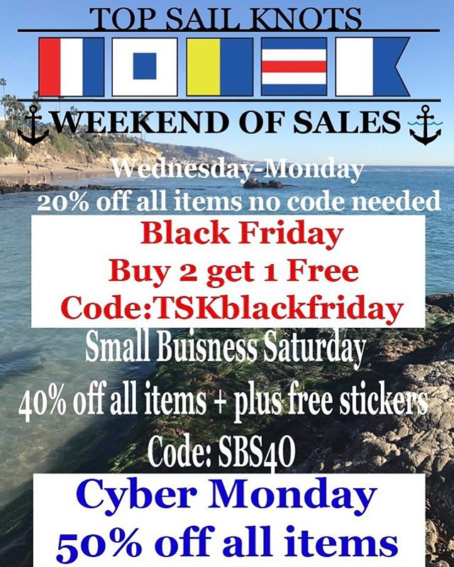 Our very first weekend of sales is here, make sure to take advantage of these great deals! Plus Free shipping on all orders over $8.00, no code needed! ⚓️🇺🇸⛵️#notyouraverageknot