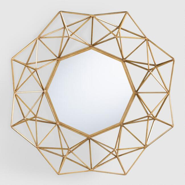 Modern Gold Round Mirror