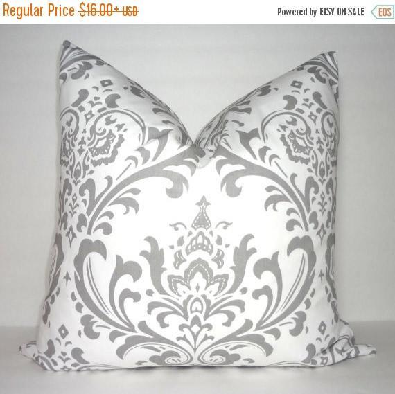Grey & White Throw Pillow