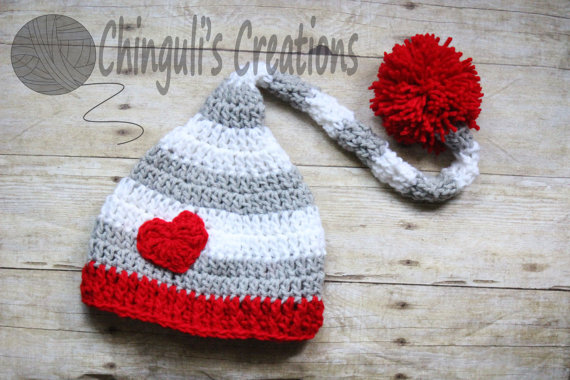 Baby Knit Heart Hat