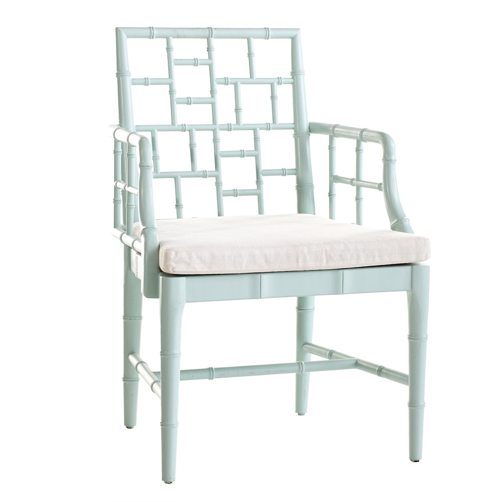 Light blue bamboo chair