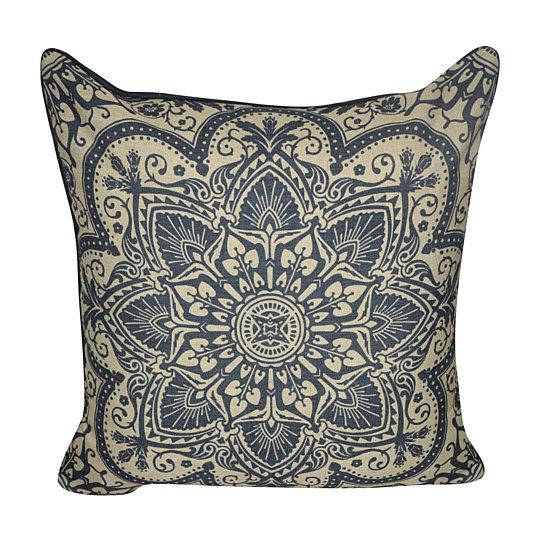 Navy Print Throw Pillow