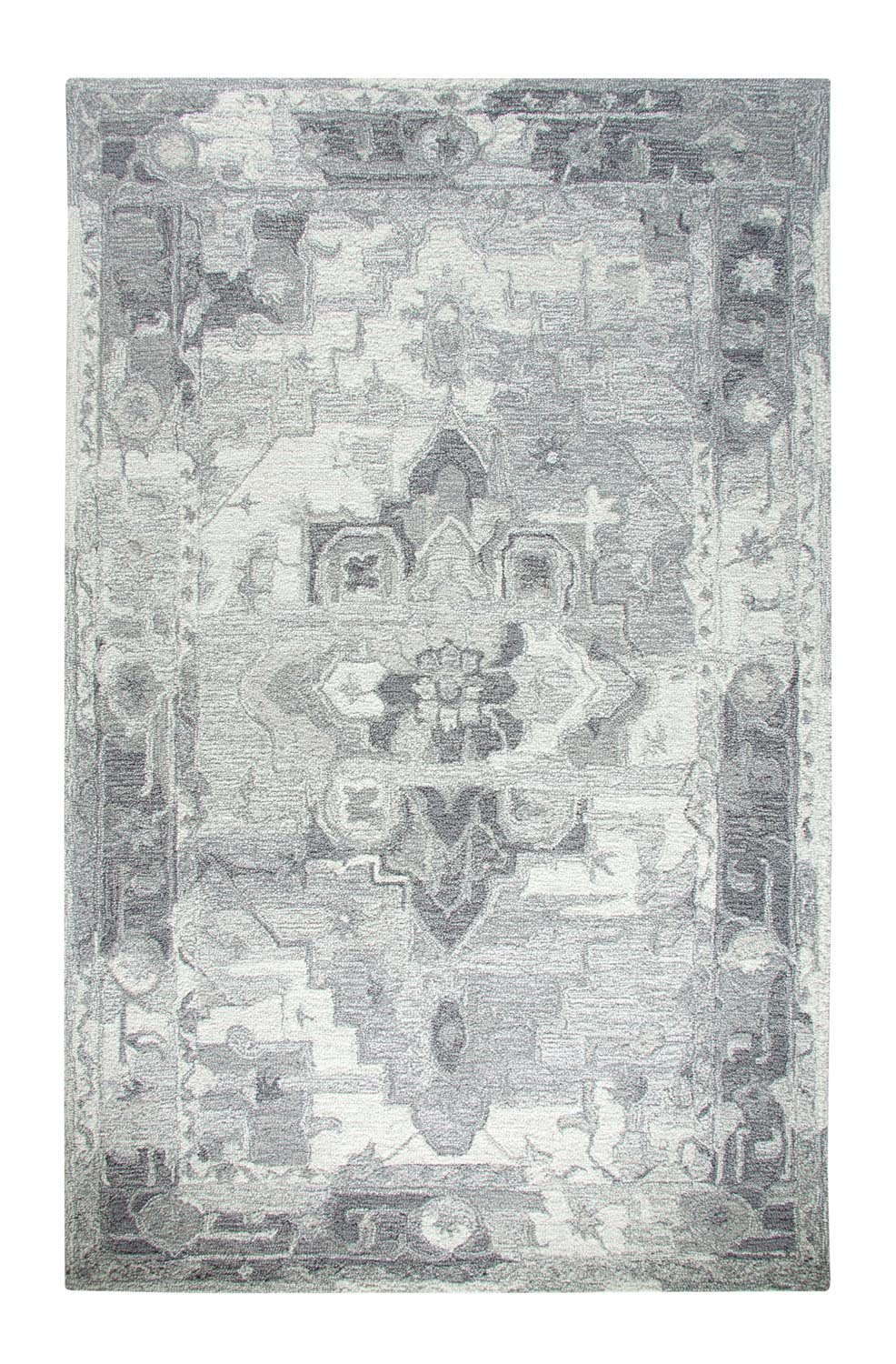 Grey & White Traditional Rug