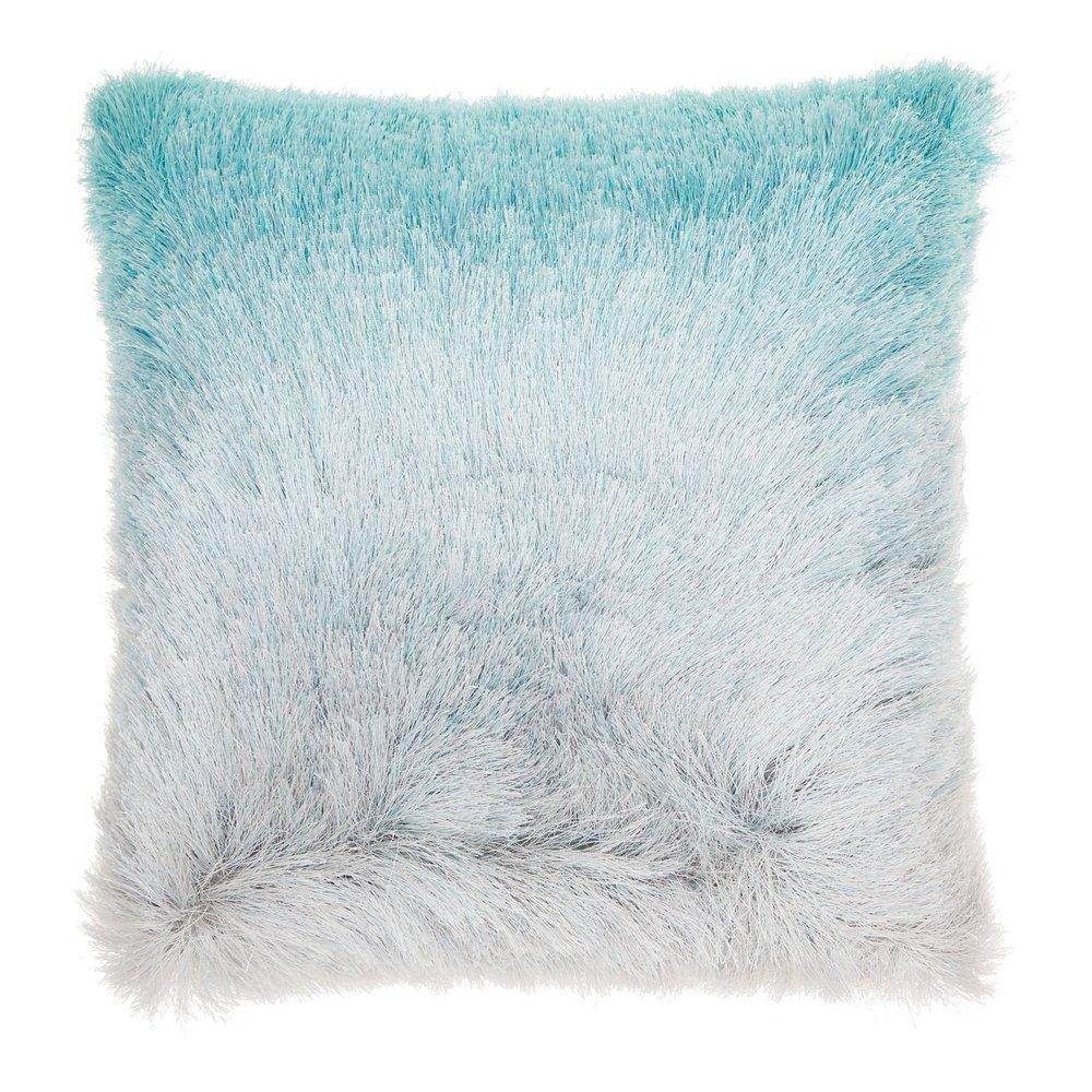 Teal Faux Fur Pillow
