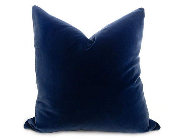 Velvet Navy throw Pillow