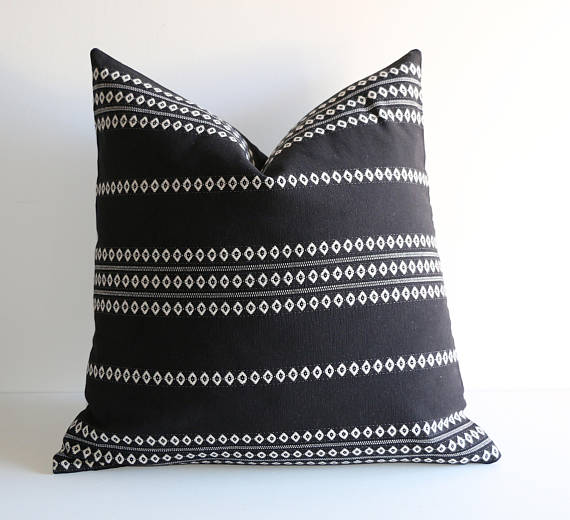 Black Print Throw Pillow