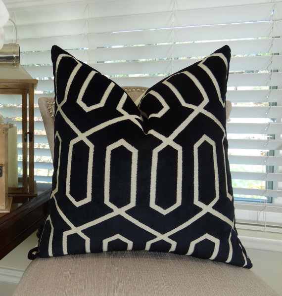 Black Geo Throw Pillow