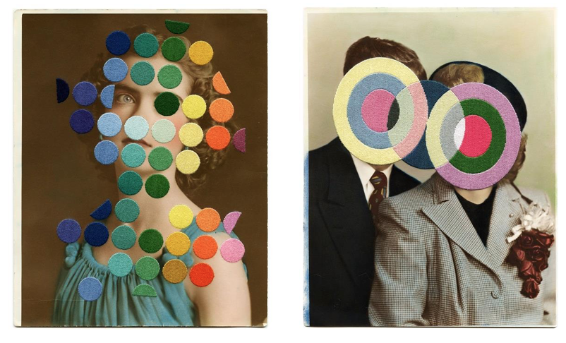 (Left) ©Julie Cockburn , 'The Conundrum' 2016 . Courtesy of Flowers Gallery, London & NYC. (Right) © Julie Cockburn, ' Honeymoon Period 7' 2015. Courtesy of Flowers Gallery, London & NYC.