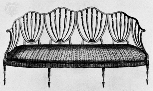 A sofa design by George Hepplewhite (1788) via  Britanica.com