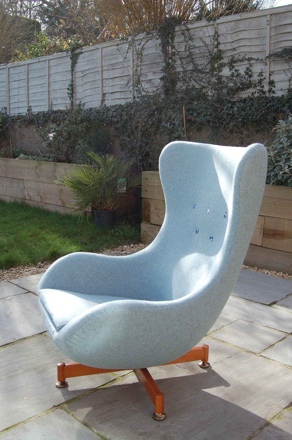 Grist & Twine Upholstery: Reupholstered Greaves & Thomas egg chair in pale blue wool with contrasting velvet buttons