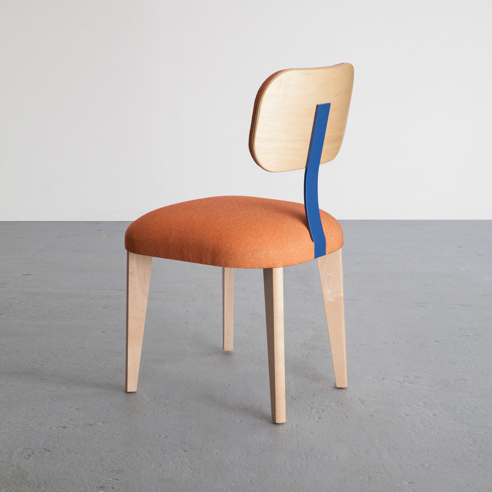Singer Chair in maple and cotton upholstery by David Gaynor Design