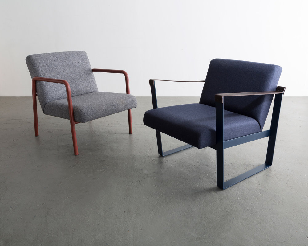 Shown along side the Strap Lounge Chair