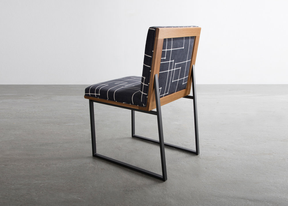 DGD Dining Chair in cotton fabric, white oak, and powder coated steel by David Gaynor Design