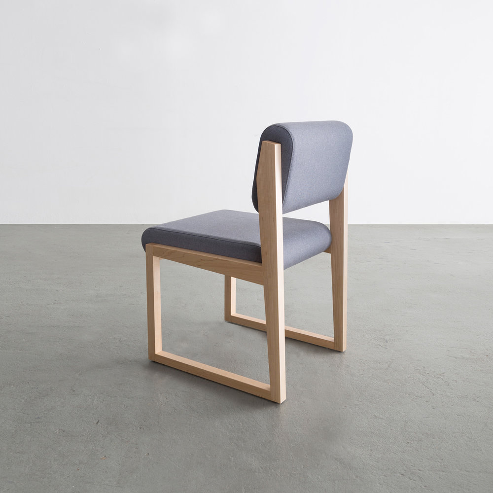 Lingotto Chair in maple and cotton upholstery by David Gaynor Design