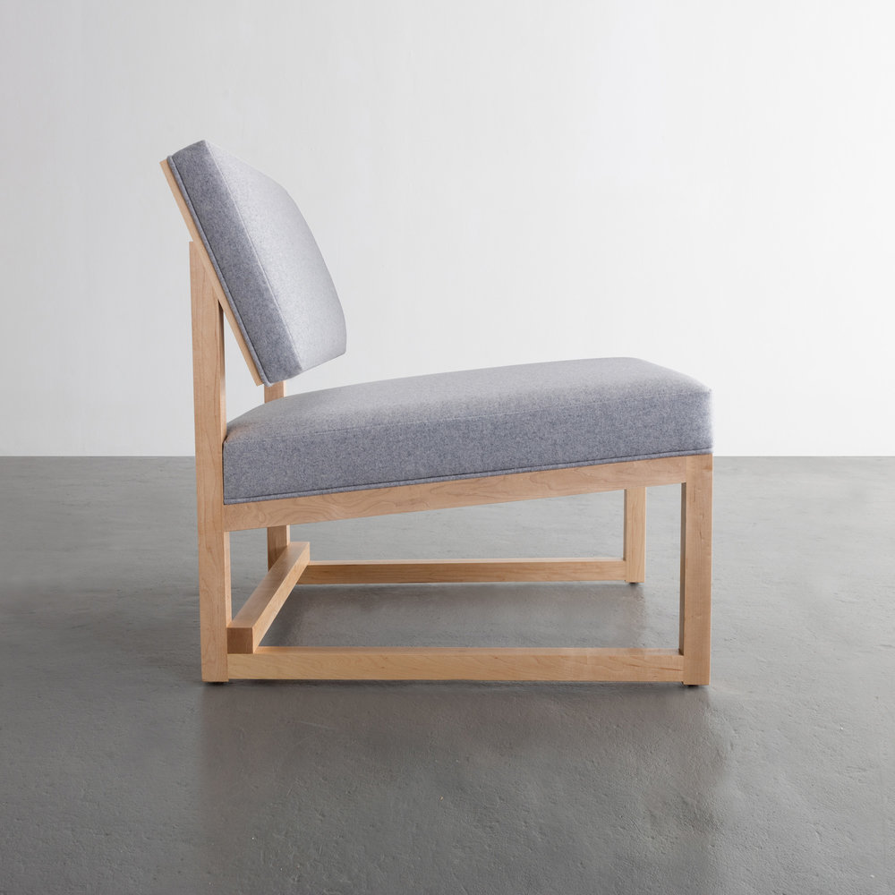 SQ Lounge Chair in maple and wool