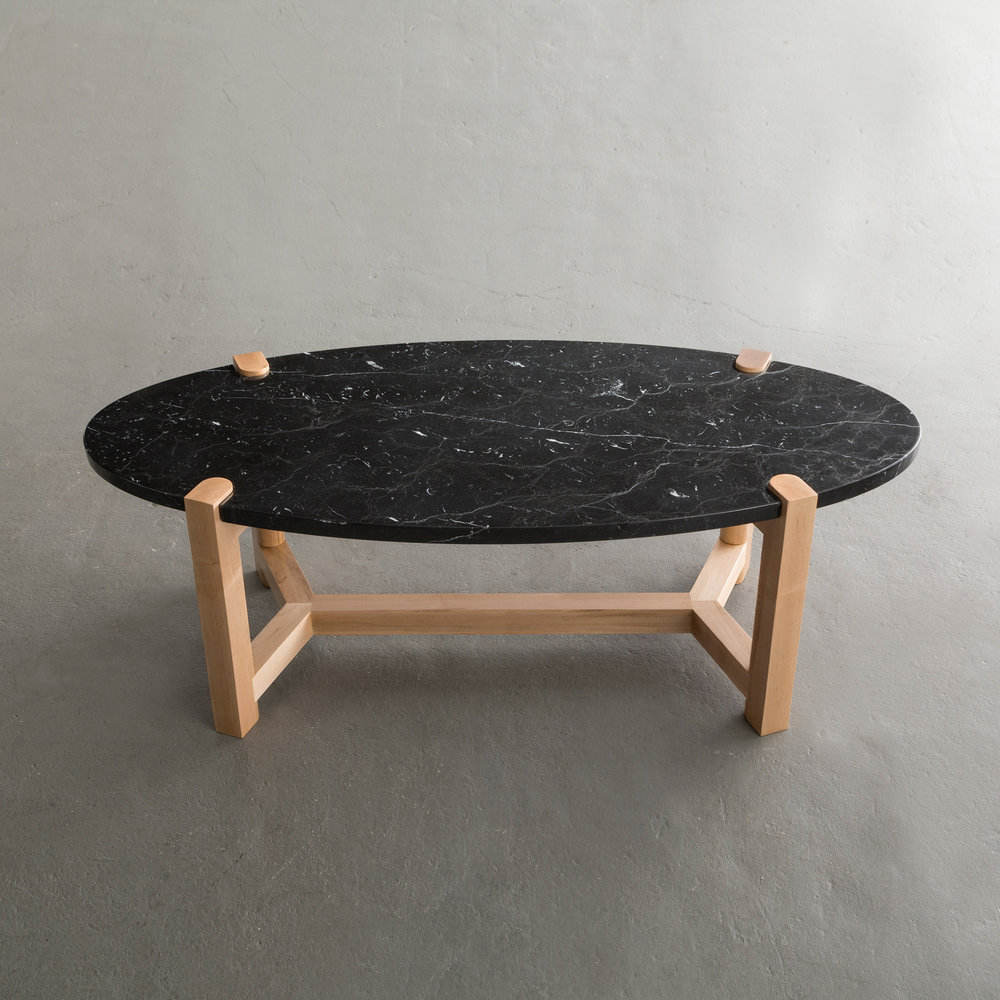 Pierce Coffee Table in maple and Nero Marquina Marble