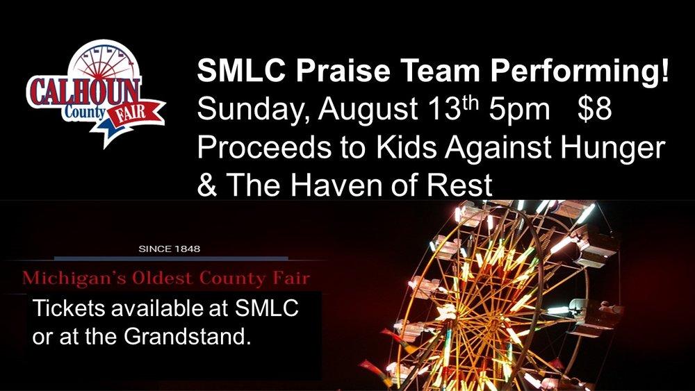 SMLC Fundraiser, contact dcandy@stmarkbattlecreek.org or 269-964-0401 for tickets.