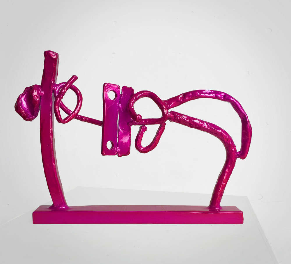 "Sculpture: Huxley Pink - from the new series Dreams. Shaped steel, powdercoated, silver undercoat, topcoat translucent berry pink. 45 lbs. 26"" wide x 17 "" high. $5800. Contact the studio."