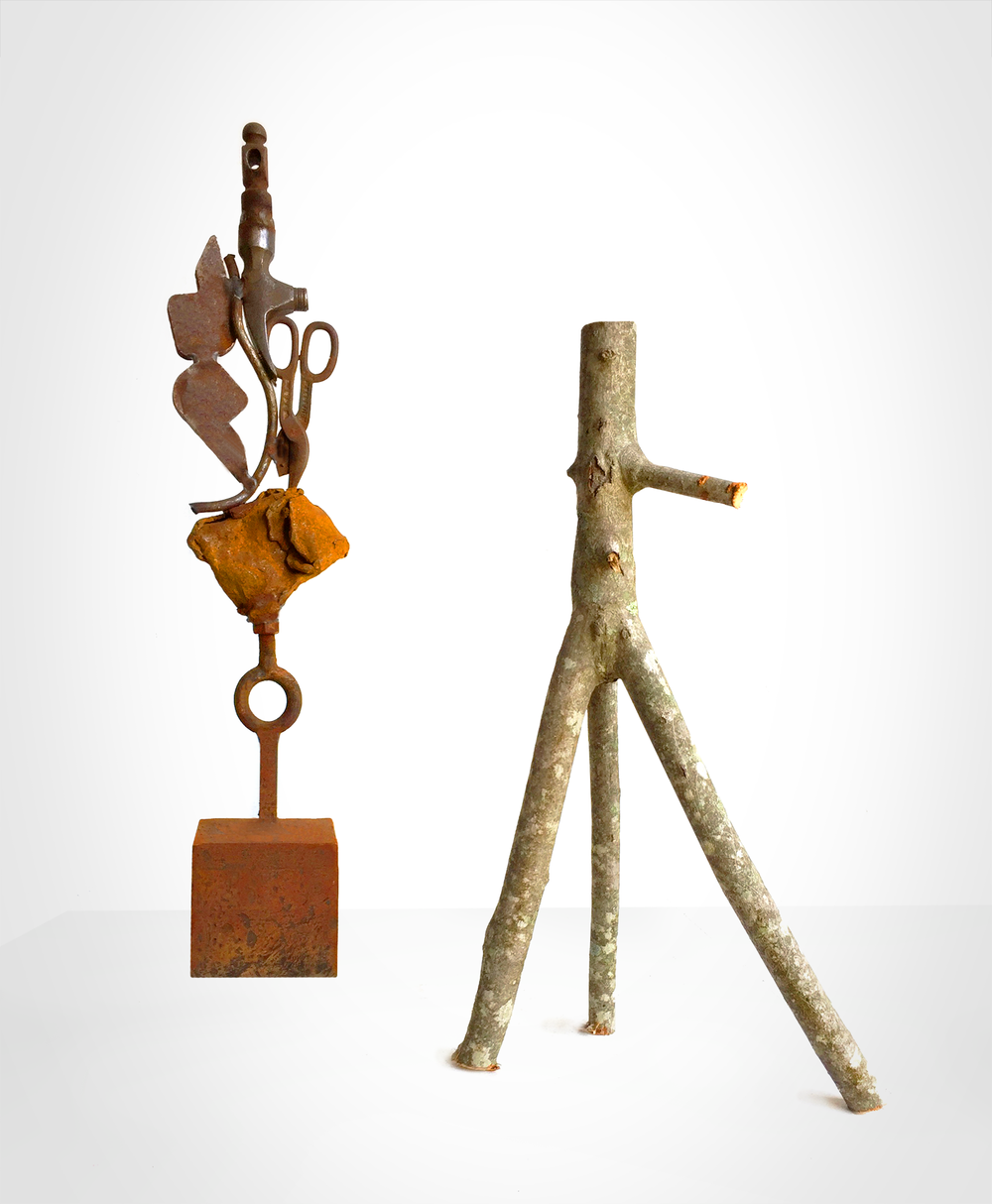 "'Two of a Kind' -  Sculpture: Fount of Dreams - from the new series Relationships. Shaped and found steel, orange rust patina. 20 lbs. 10"" wide x 16 "" high. $2300. Contact the studio."