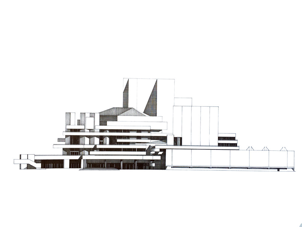 National Theatre. London  West Elevation