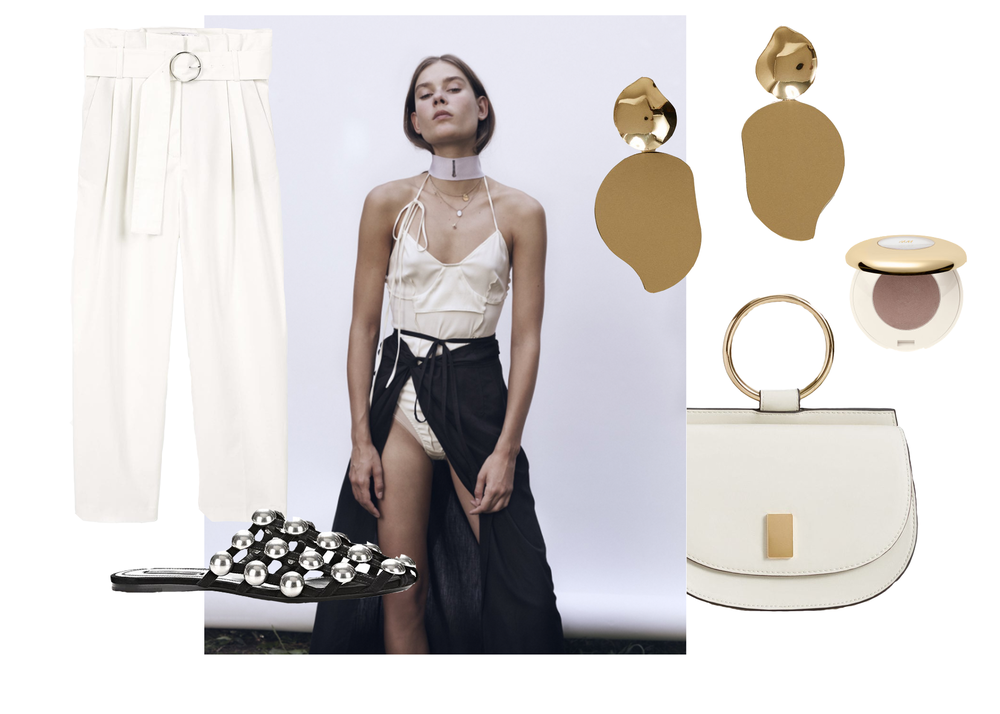 Mango   Trouser ,  earrings  and  shoulder bag  |   Alexander Wang Amelia sandals   |  Wendleborn   bodysuit (in black)  |  H&M   eyeshadow