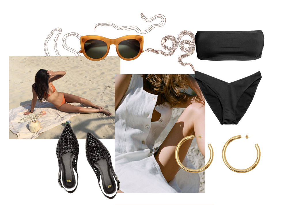 H&M  sunglasses ,  shoes , and  bikini  | Bagatiba  gold hoops  | Paloma Wool  linen dress